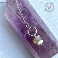 Moonstone Nugget Silver Hoop Pendant Necklace